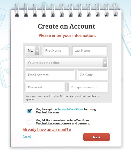 create an account screen
