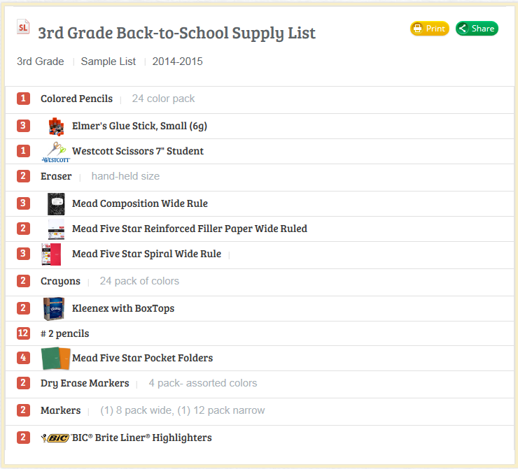 sample school supply lists