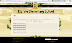 web page with text links to teacherlists school supply lists