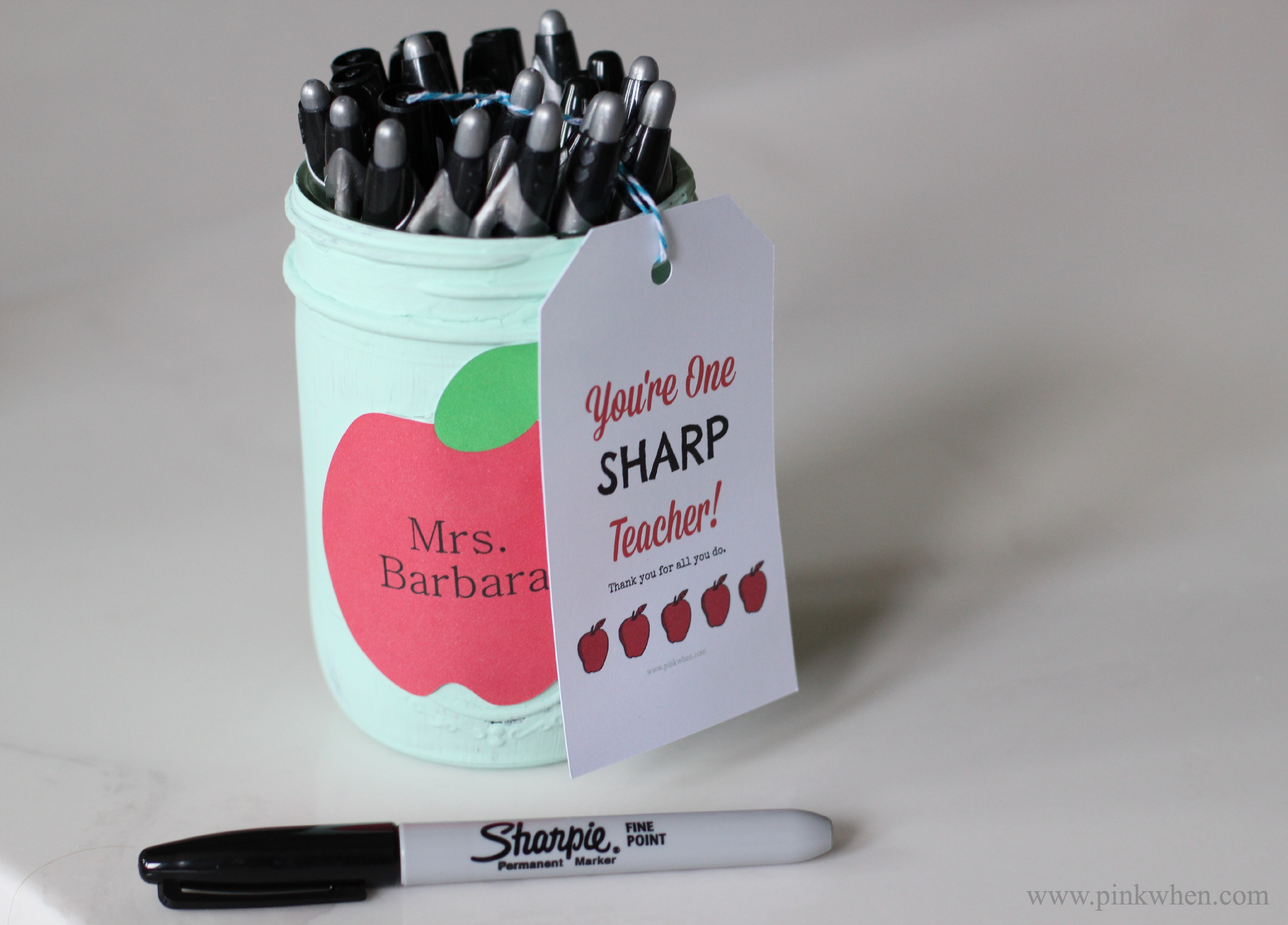 featuring sharpie markers and printable gift tag from pink when