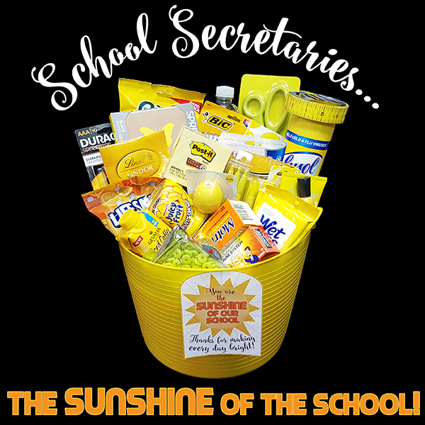 school secretary basket of supplies