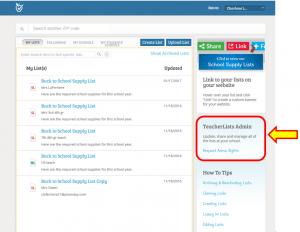 teacherlists admin screen