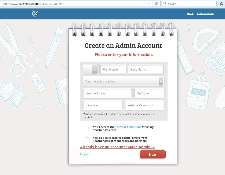 create an admin account screenshot