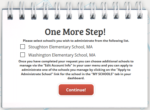 screenshot showing where to select your school