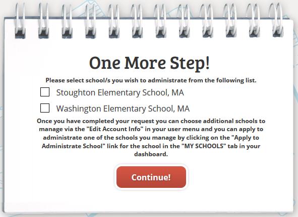 select a school screenshot