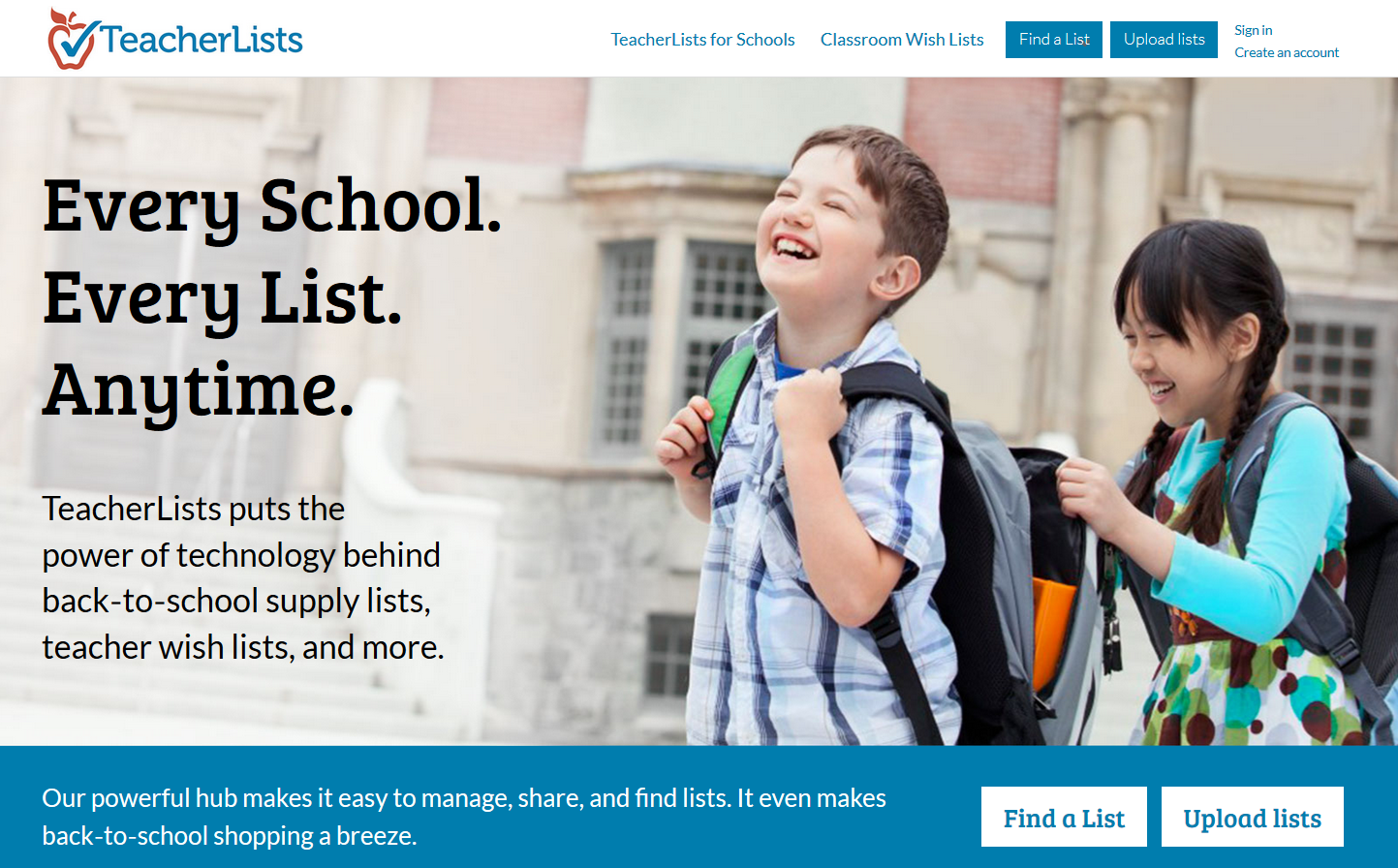 TeacherLists homepage screenshot