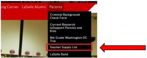 teacher supply list screenshot