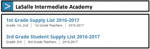 supply lists page