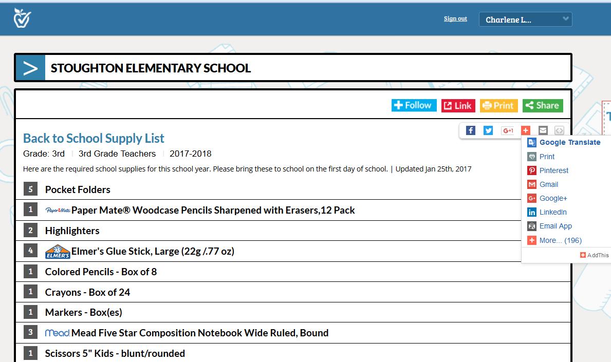 sample back to school supply list