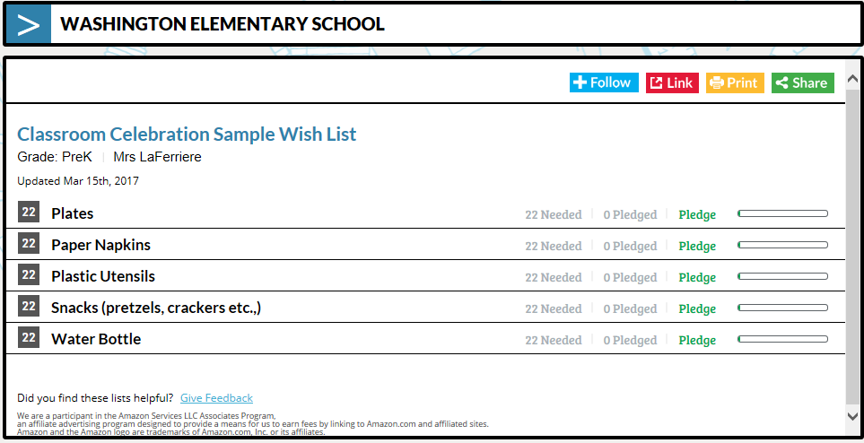 TeacherLists sample classroom celebration wish list screenshot
