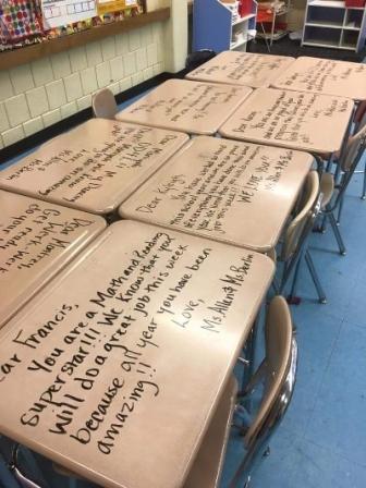 motivational sayings written on student desks