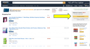 amazon shopping cart page