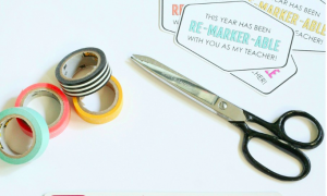 scissors and colored tape