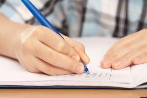 student practicing handwriting