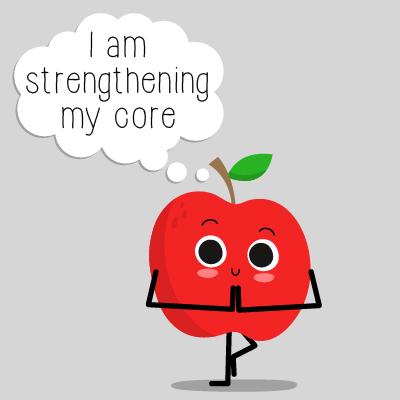 cartoon apple doing yoga