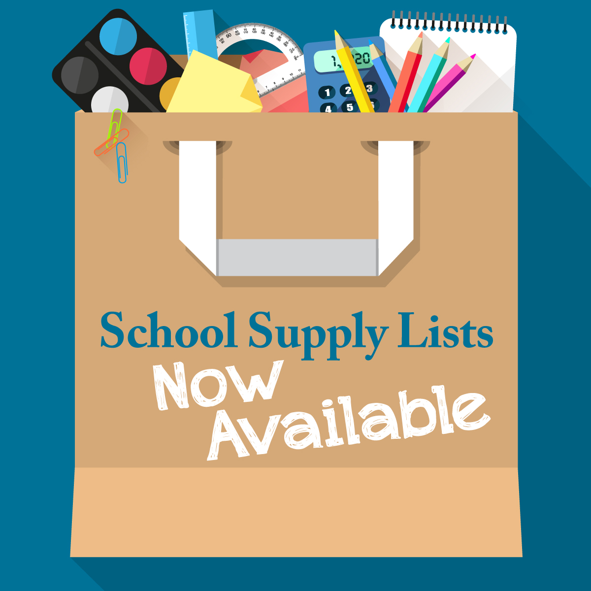 supply list graphic for school website with shopping bag