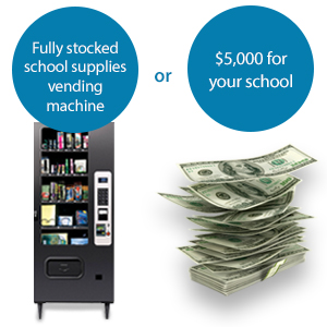 A school supply vending machine and a stack of money