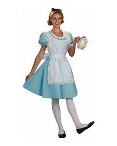 Woman wearing Alice in Wonderland costume