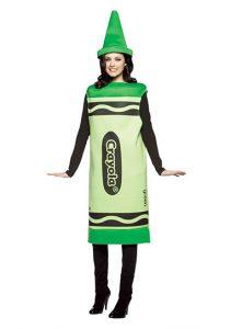 Woman in green crayola crayon costume