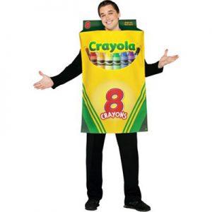 Man wearing crayola crayons costume