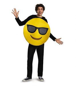 Man wearing smiling emoji costume