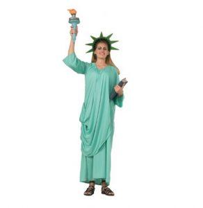 Woman wearing Statue of Liberty costume