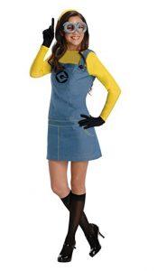 Girl wearing Minion character costume