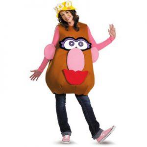 Woman wearing Mrs. Potato Head costume