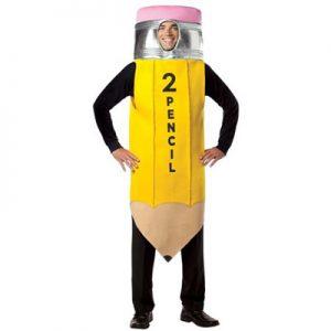 Man wearing number 2 pencil costume