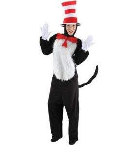 Woman wearing Cat In The Hat costume