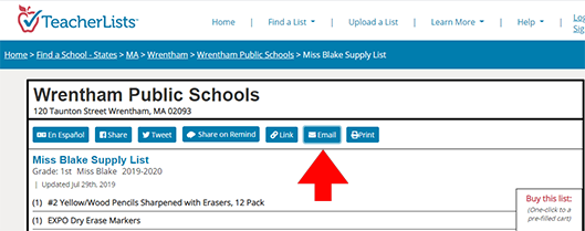 Email list screenshot