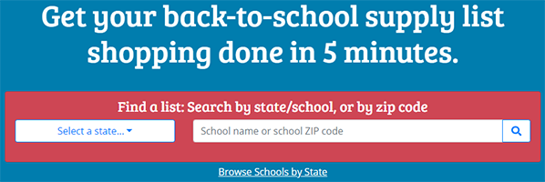 Find a School Supply List menu