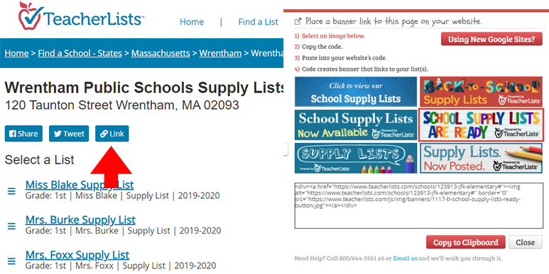 link to post links to supply lists on website
