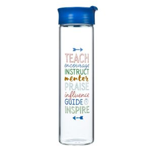 Glass water bottle with Teacher quote