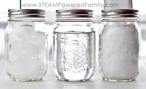 3 mason jars with water, ice and snow