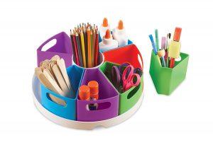 storage center with school supplies