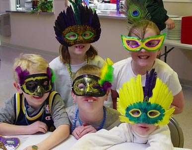 students with festive masks on