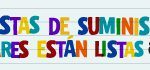 Spanish notebook style school supply lists are ready banner