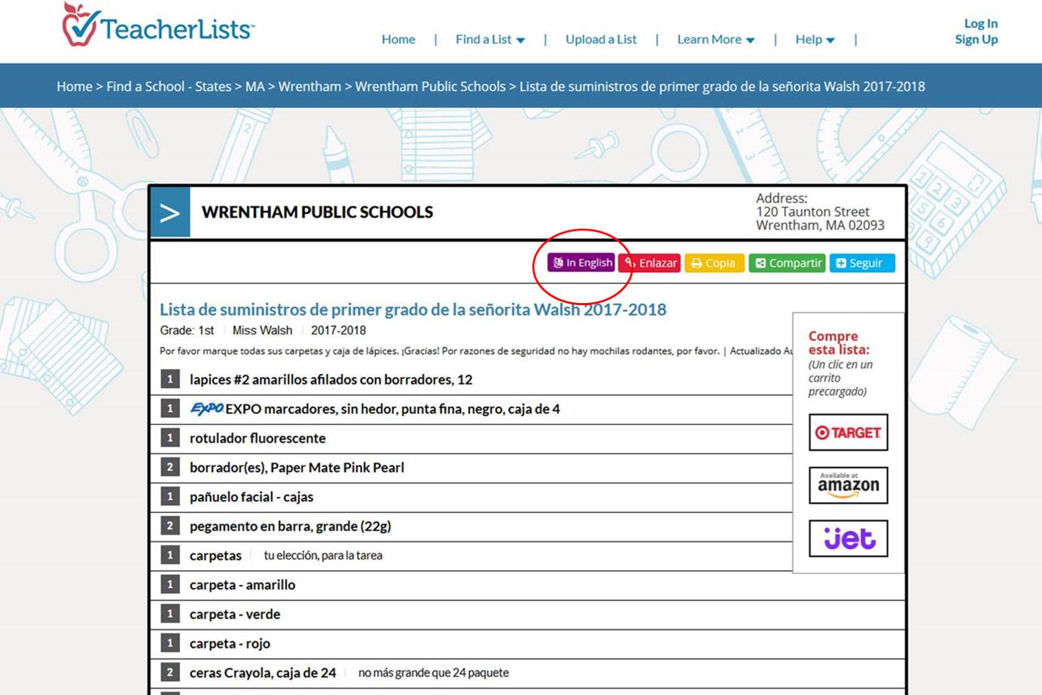 Spanish translate button on TeacherLists