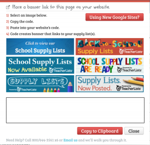 banner links page on teacherlists website