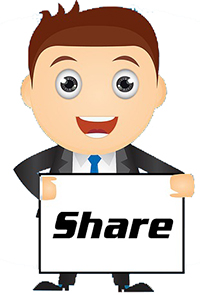 man holding share sign