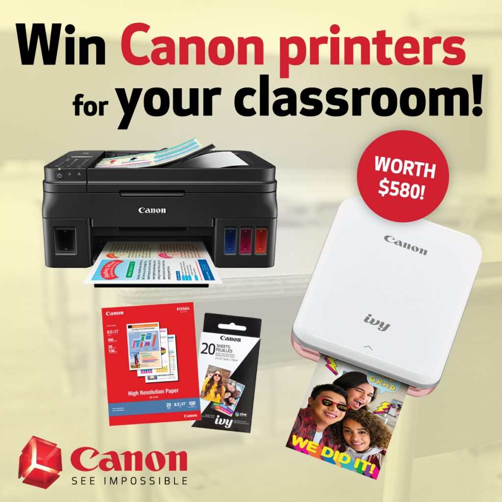 Win Canon printers for your classroom graphic