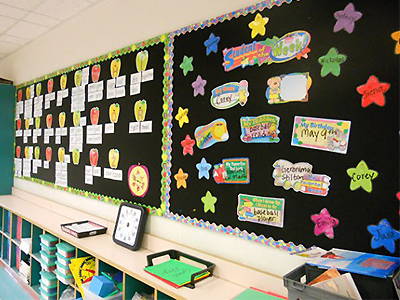bulletin boards covered in fabric