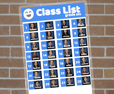 Laminated class list with student pictures