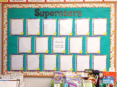 bulletin board with student work displayed