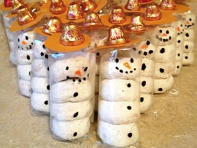 snowmen made out of doughnuts