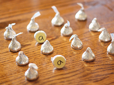 hershey's kisses on a table