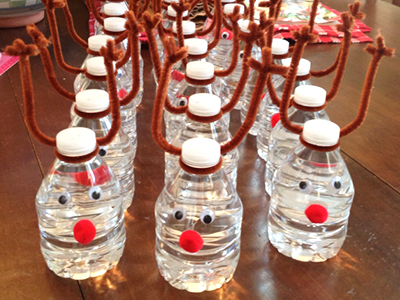 bottles of water decorated like reindeers