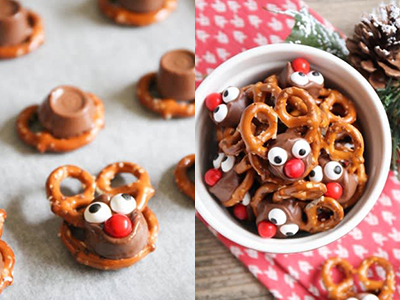 pretzel and rolo candy reindeer