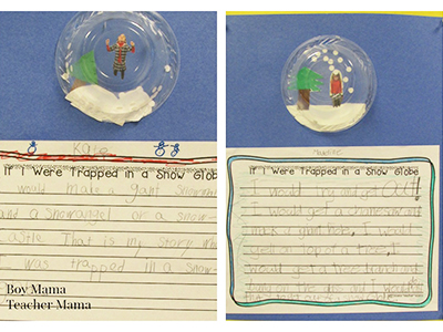 snow globe writing activity